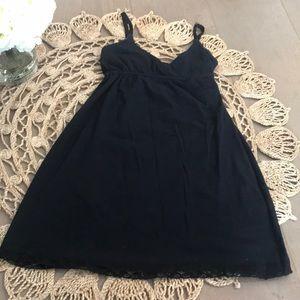 Black night gown with lace trim/ Lounge Gown